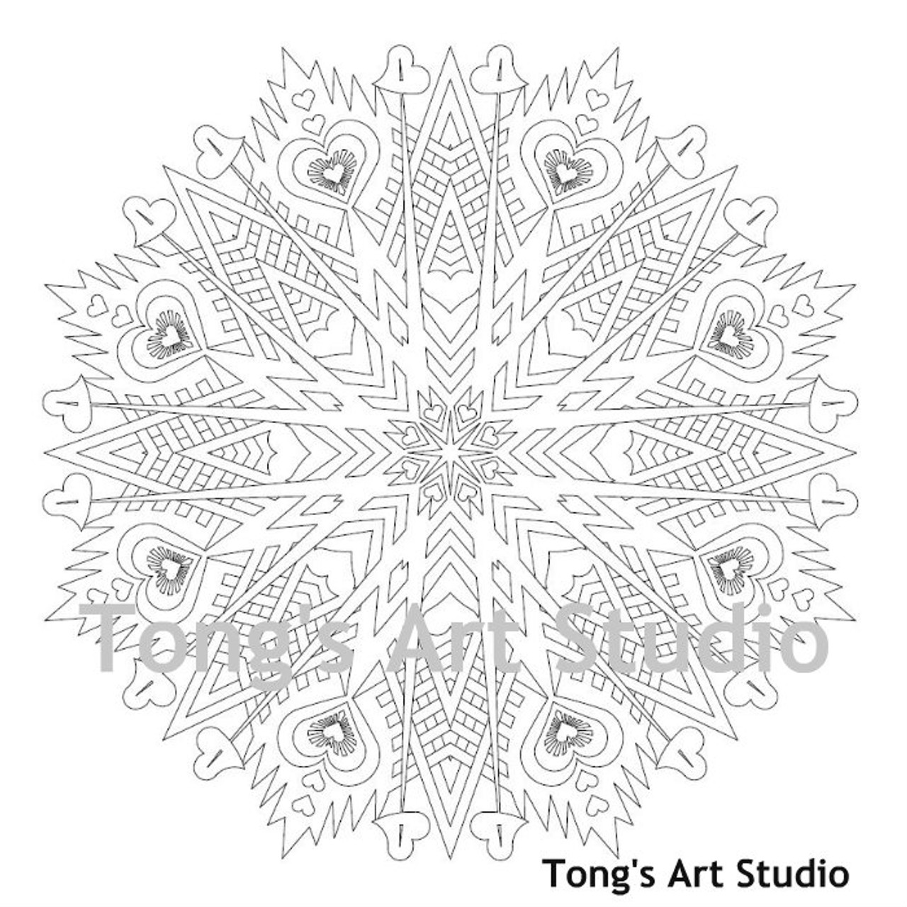 - Instant Download-Coloring Page-Mandala Style-003 - Tong's Art Studio