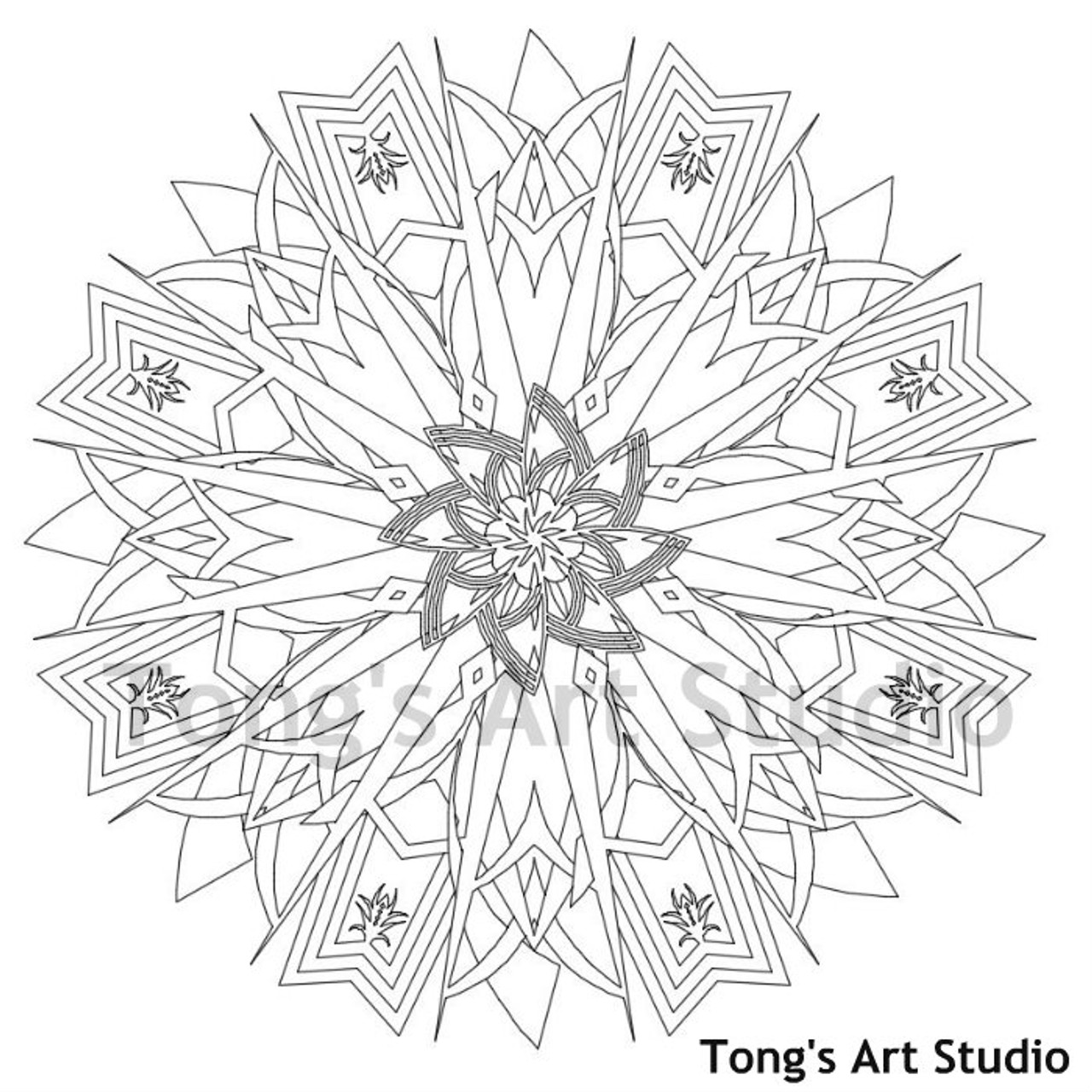 instant downloadcoloring pagemandala style005  tong's
