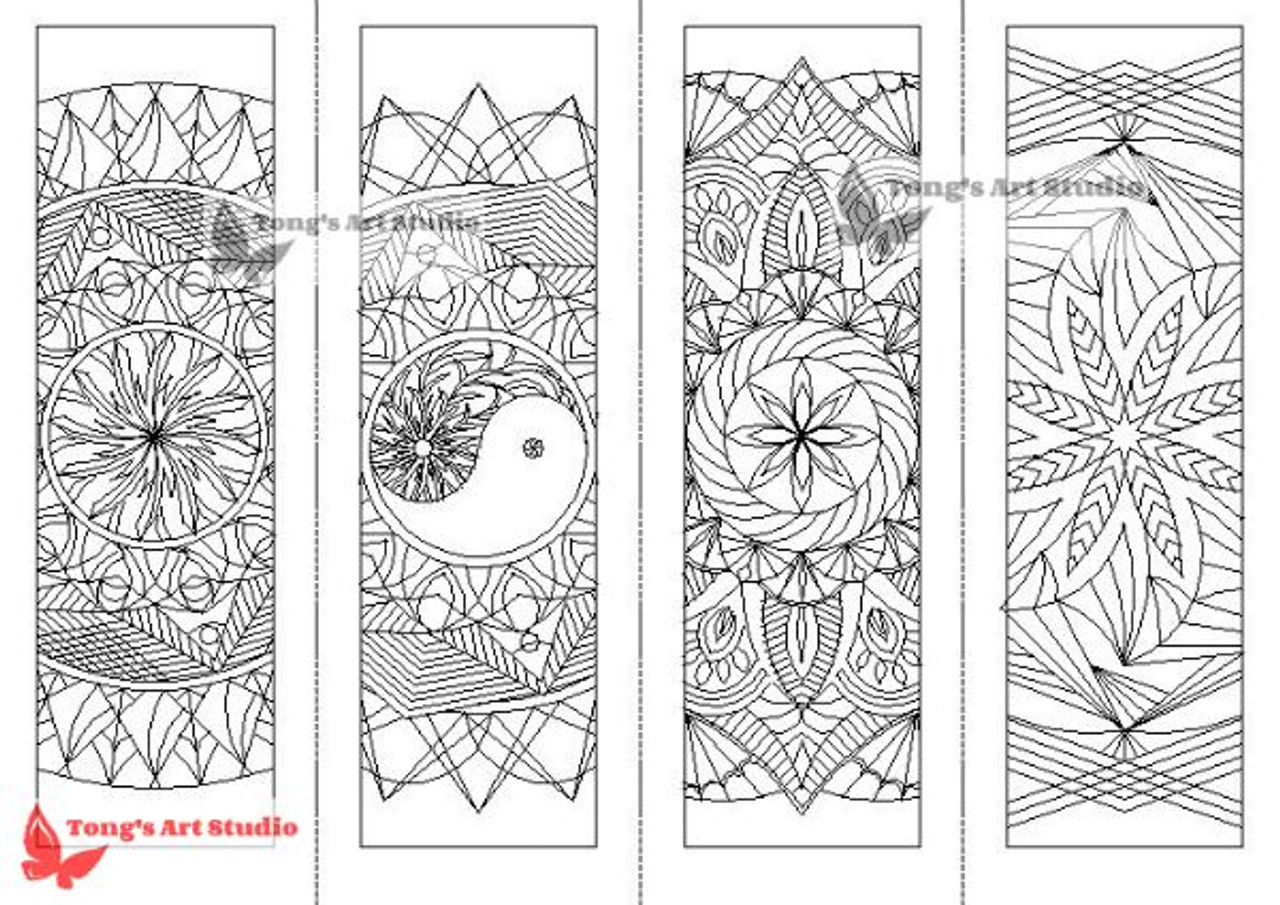 4 Printable Mandala Coloring Bookmarks-1 - Tong\'s Art Studio