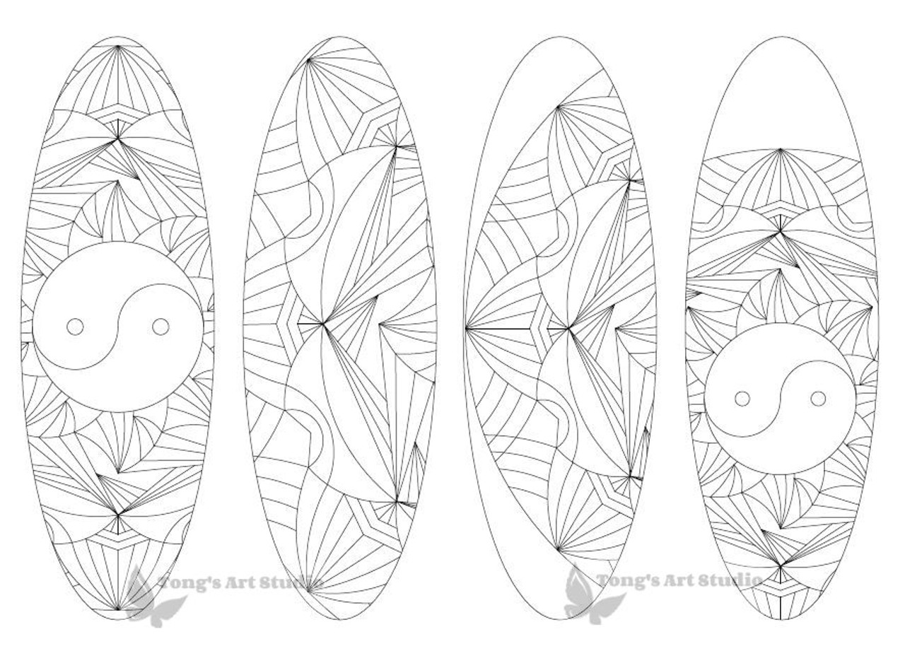 4 Printable Mandala Coloring Bookmarks-16-Oval
