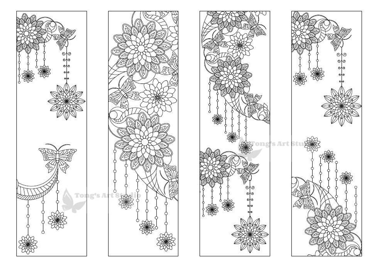 4 Printable Mandala Moon Coloring Bookmarks-18