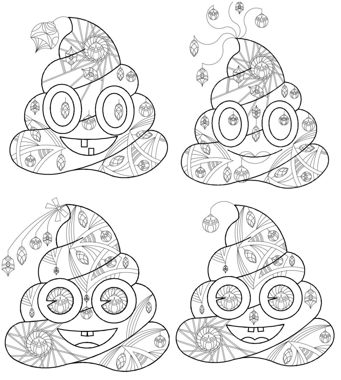 - 4 Printable Poop Emoji Coloring Collection - Christmas, Christmas