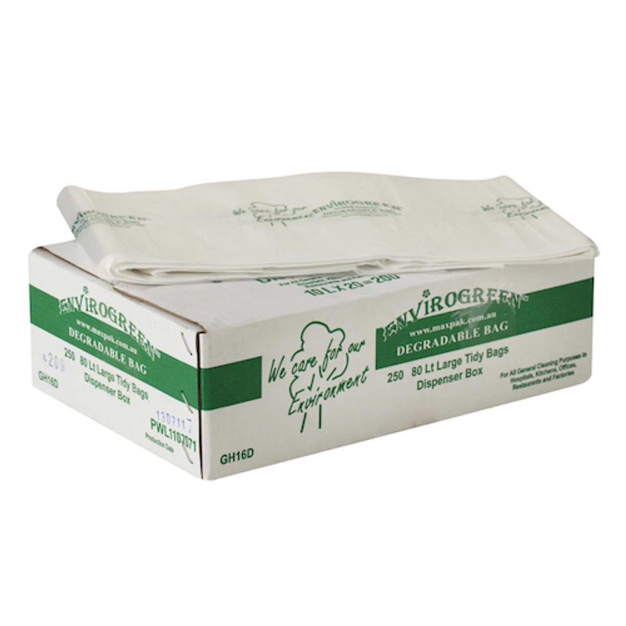 MaxValu Degradable 80 Litres Bin Liners Clear 250 Tidy Garbage Bags (GH16D) Envirogreen Biodegradable | Environmentally Friendly