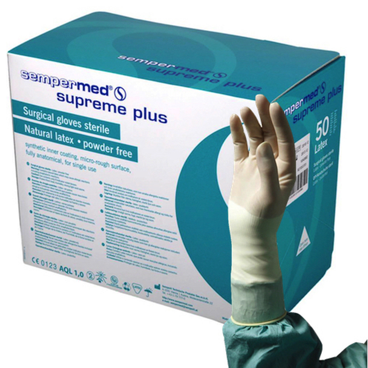 Sempermed Supreme Plus Surgical Gloves Sterile 8 1/2 Latex Powder Free (SUS822851G)