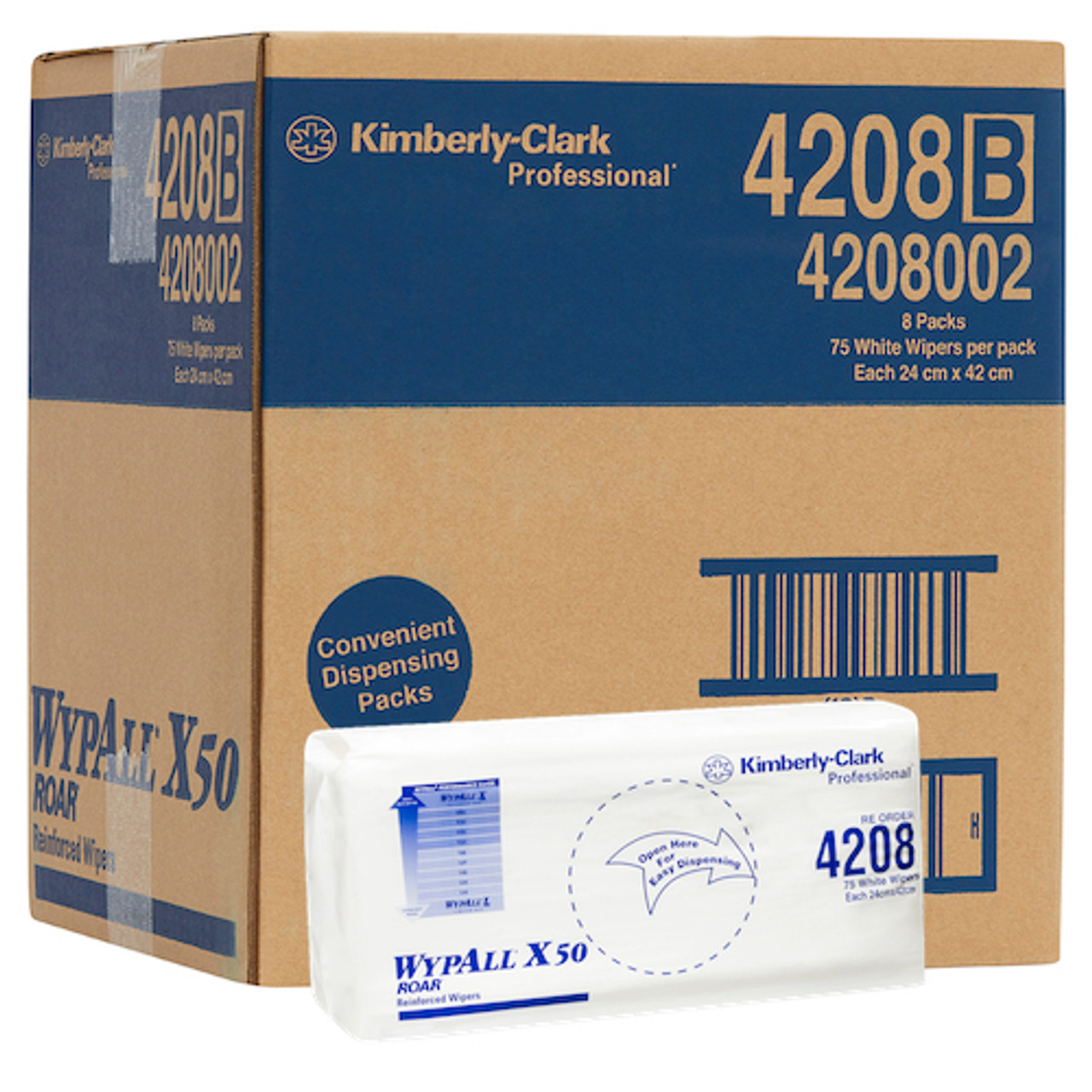 WyPall X50 Reinforced Single Sheet Wipers 8 Packs x 75 Wipers (4208) Kimberly Clark Professional
