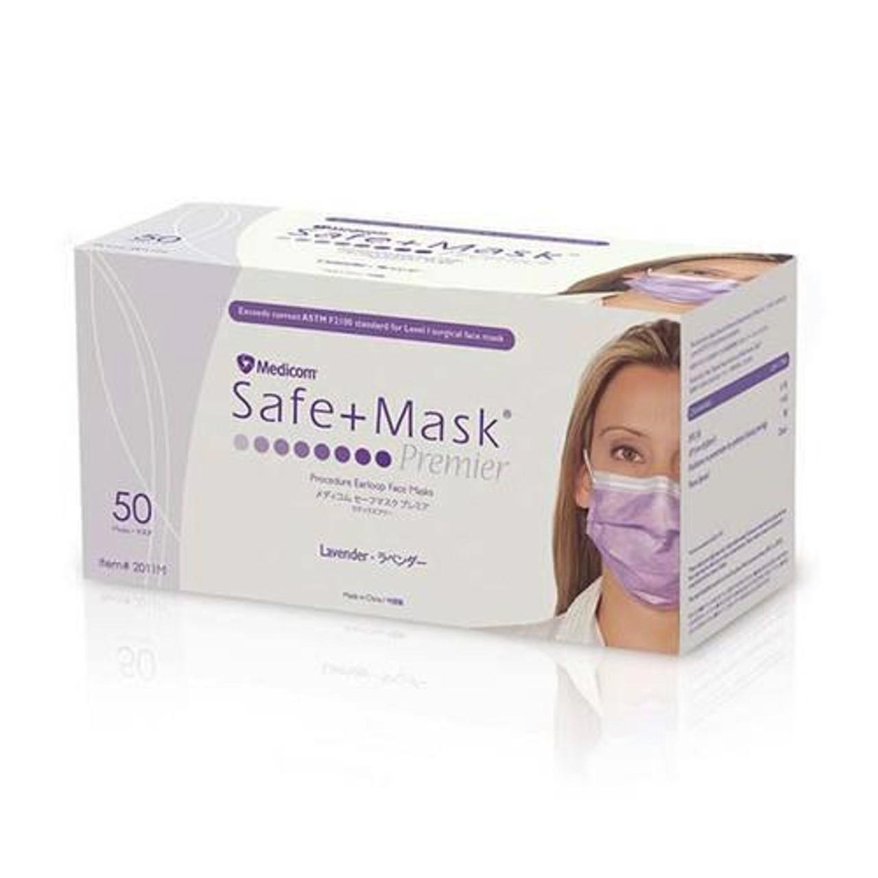 Medicom SafeMask Premier Earloops Lavender Procedure Masks 50/box (2011M)