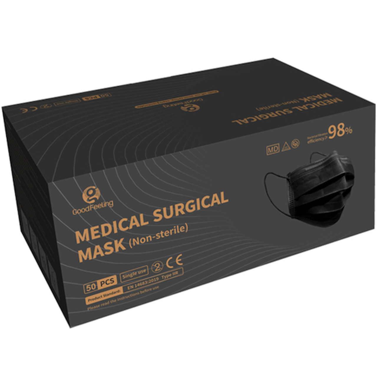 Medical Surgical 3Ply Earloop Black Face Mask 50/bx