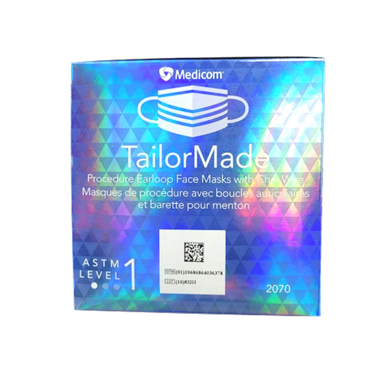 Medicom TailorMade 3Ply Earloop Face Mask With Chin Wire Blue 50/Box