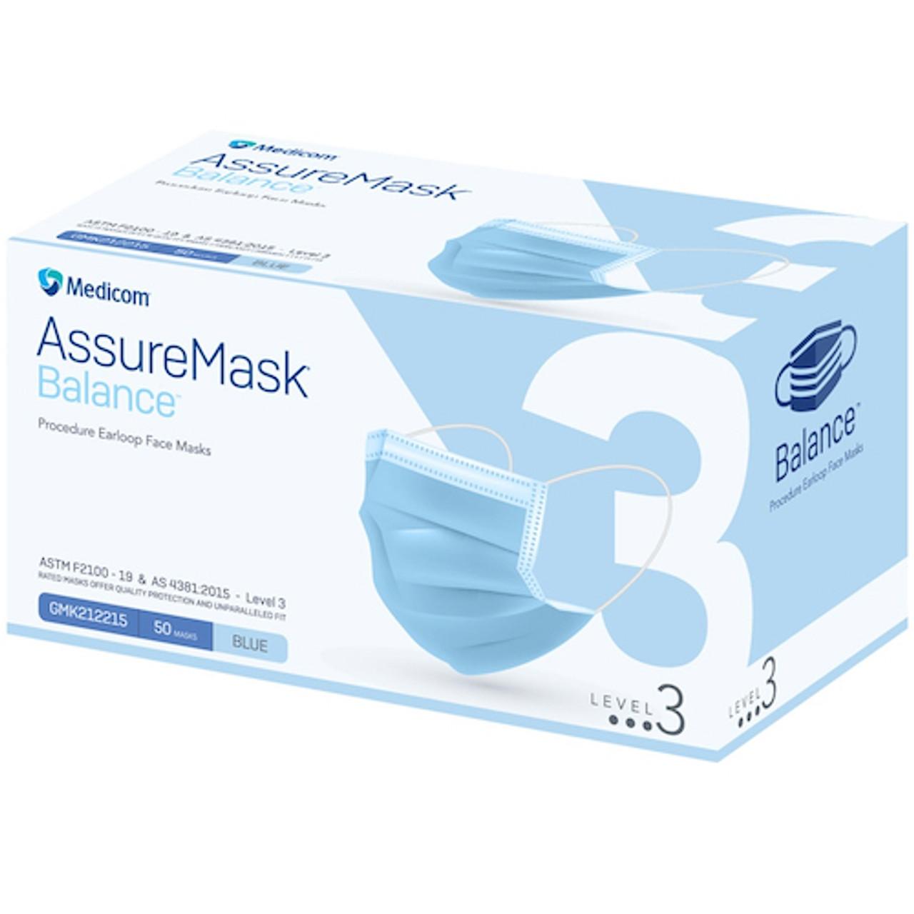 Medicom ASU Balance 3Ply Level 3 Earloop Face Mask Blue 50/box