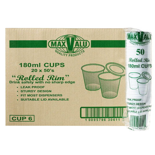 MaxValu Plastic Leak Proof Water Cup 180ml Rolled Rim White 1000 Cups | Maxpak
