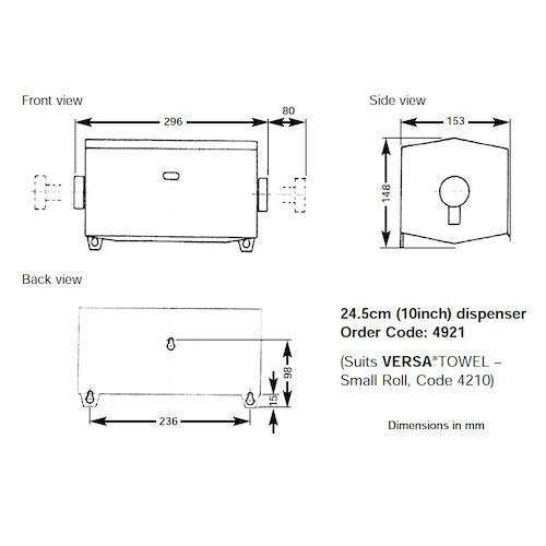 Halyard Versa Towel Small Dispenser To Suit 4210 (7041)