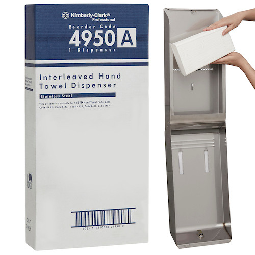 Kimberly Clark Optimum Hand Towel Stainless Steel Dispenser (4950) Kimberly Clark Professional