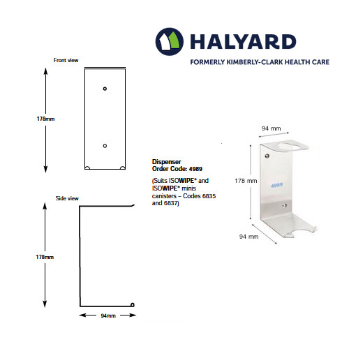 Halyard ISOWIPE Bactericidal Wipes Stainless Steel Wall Bracket (4989) | Halyard Health Formerly Kimberly Clark Health Care