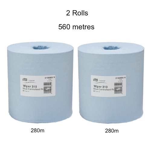 Tork Basic Paper 1ply Centrefeed Roll Blue M2 2 Rolls (TK2198859) - Twin Pack Tork Products