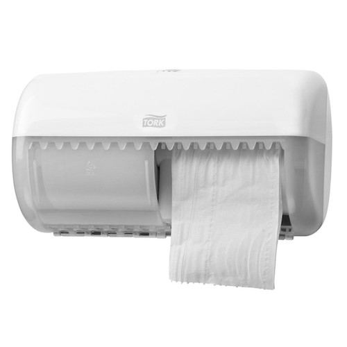 Tork Conventional Twin Toilet Roll Dispenser White T4 System (557000) Tork Products