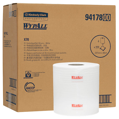 Wypall X70 Centrefeed Roll Wipers 4 Rolls x 220 Wipers (94178) Kimberly Clark Professional