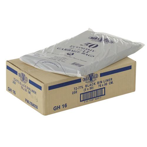 MaxValu Economy Black 72-77L Garbage Bags 250/ctn
