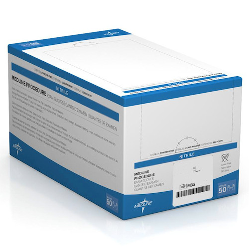 Medline Sterile Procedure Nitrile Gloves Small 50 Pairs (MDS2294) Medline Products