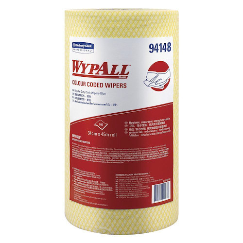 Wypall Colour Coded Yellow Regular Duty Wipers 6 Rolls (94148) Kimberly Clark Professional