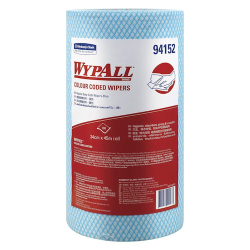 Wypall Colour Coded Blue Regular Duty Wipers 6 Rolls (94152) Kimberly Clark Professional