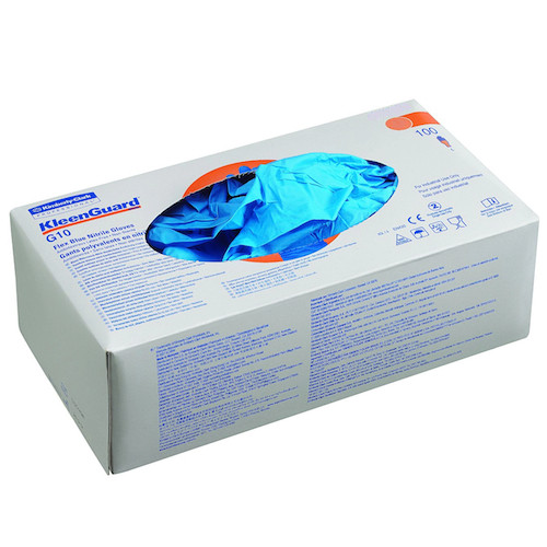 Kleenguard G10 Flex Blue Nitrile Gloves Medium 100 Gloves (38520) Kimberly Clark Professional