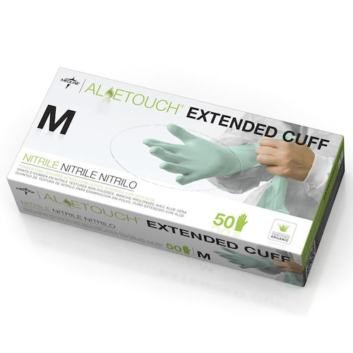 "Medline Aloetouch 12"" Extended Cuff Chemo Nitrile Exam Gloves Medium (MDS195185M) Medline Products"
