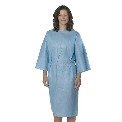 Medline Patient Gown Short Sleeve Blue Regular 10/pack