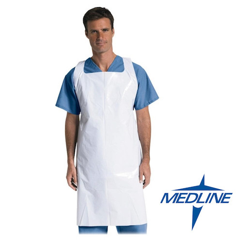 Medline Polyethylene Disposable White Aprons 250/ctn (NON24274) Medline Products