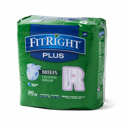 "Medline FitRight Plus RG Regular Briefs 40-50"" 20 Adult Diapers"