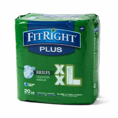 "Medline FitRight Plus XXL Briefs 60-69"" 20 Adult Diapers"
