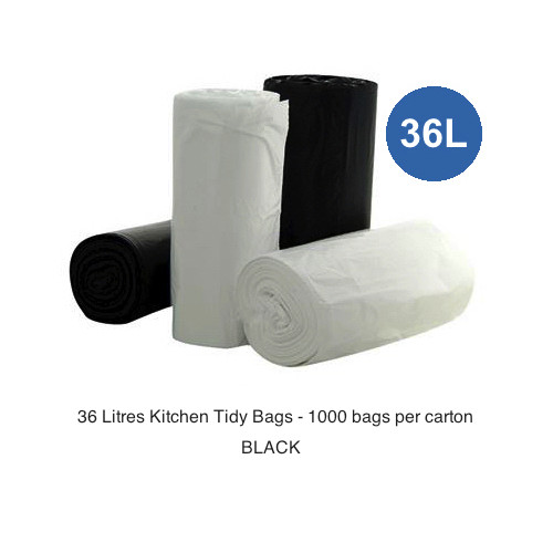 Kitchen Tidy Bags 36 Litres Black 1000 Bags 20 rolls of 50 bags