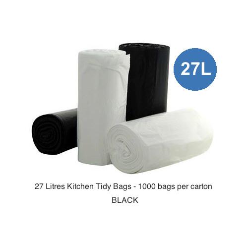Kitchen Tidy Bags 27 Litres Black 1000 Bags 1000 bags per carton