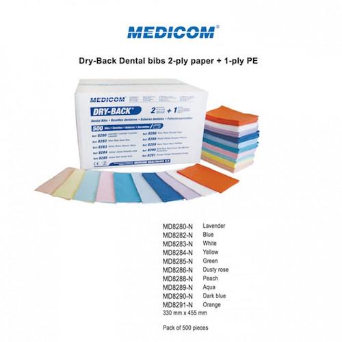 Medicom Dry-Back Dental Bibs White 500 bibs/ctn