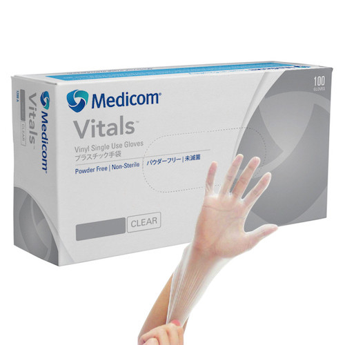 Medicom Vitals Vinyl Gloves Powder-Free Medium 100/box (VIT1209C)