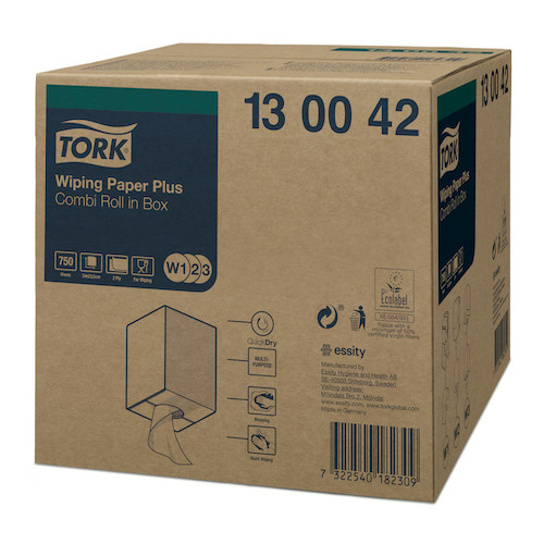 Tork Wiping Paper Plus Combi Roll Box 2 Ply White W1/W2/W3 (130042)