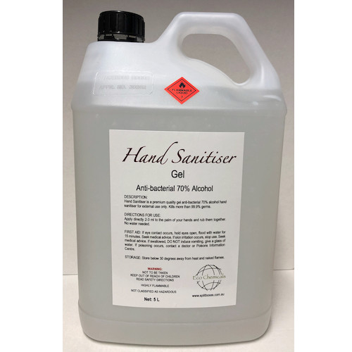 Hand Sanitiser Gel Antibacterial 70% Alcohol 5L Pump