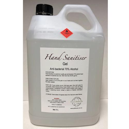 Hand Sanitiser Gel Antibacterial 70% Alcohol 5L Pump