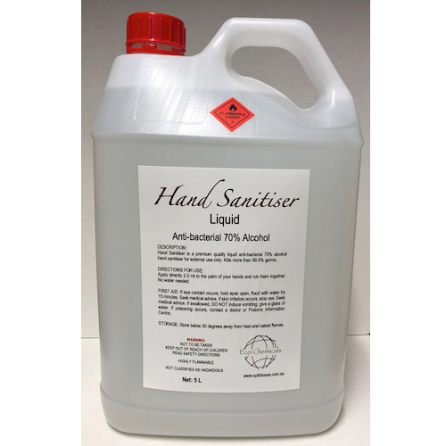 Hand Sanitiser Liquid Antibacterial 70% Alcohol 5L Pump