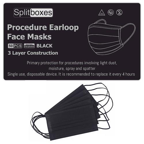 Procedure 3Ply Earloop Black Face Mask 50/bag