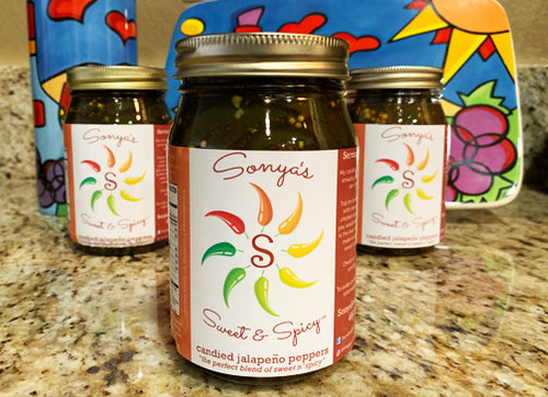 SSSJ 8oz Sonya Sweet Spicy Candied Jalapenos $5.25 each  SPECIAL SALE PRICE $2.45 EACH