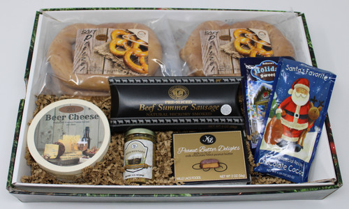 Gift 115 Soft Pretzel Snack Box  18.00 Each * 4 - Lightly Salted Soft Pretzels * 6oz Beer Cheese Hoop * 2.25 oz Beer Mustard * 2 oz Pre-sliced Beef Summer Sausage * 2 oz Peanut Butter Chocolates * 2- 1.25 oz. Hot Chocolates Packets