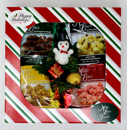 ML7186 Candied Popcorn Treats $12.50 * 4oz Carmel Crunch Popcorn * 4 oz Carmel Fudge Popcorn with Sea Salt * 4 oz Cherries and Cream Popcorn * 4 oz White Fudge Popcorn with Roasted Almonds * snowman Pic Striped Happy Holiday Box