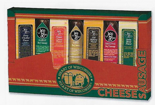 ML7153 Heart of Wisconsin Variety Pack Gift $35.00 each  Gift Includes;  *Zesty Cheddar Cheese Bar  |  4.0 oz *Pepper Flavor Cheese Bar  |  4.0 oz *Old Hickory Cheese Bar  |  4.0 oz  *Swiss Blend Cheese Bar  |  4.0 oz  *Garlic Beef Summer Sausage/GREEN |  5.0 oz *Garlic Beef Summer Sausage/GOLD |  5.0 oz  *Original Beef  Summer Sausage/RED |  5.0 oz  * 6/cs