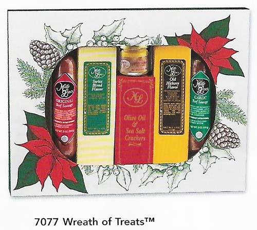 ML7077 Mille Lacs Wreath of Treats Gift   $21.50  Gift Includes:  * Mille Lacs Old Hickory Cheese Bar     4.0oz  * Mille Lacs Swiss Blend Cheese bar    4.0oz  * Mille Lacs Original Beef Summer Sausage     5.0oz  * Mille Lacs Garlic Beef Summer Sausage     5.0oz  * Mille Lacs Sweet and Hot Mustard     1.4oz   * Mille Lacs Olive Oil and Sea Salt Crackers    0.55oz