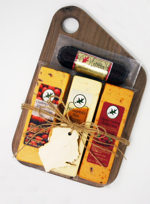 Gift 541 Rustic Wraps Wisconsin Favorites Slant Board Walnut Wood Cutting Board, made the in USA by persons with disabilities, American Hardwood cutting board.  Shelf Stable Food Products.
