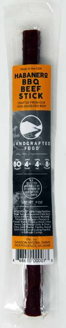 GNF51 Landcrafted Habanero BBQ Beef Sticks 20/case .9oz $1.75 each $35.00/Case  ON SALE NOW $0.75 EACH $15/CASE LANDCRAFTED BEEF STICKS ARE: 100% grass-fed beef No added hormones or antibiotics Less than 1/2 the fat of conventional sticks Made with organic cane sugar and sea salt No MSG or nitrates Gluten-free