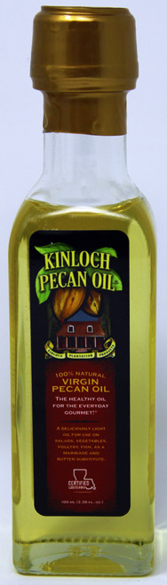 KP001 100 ML Bottle Virgin Pecan Oil Kinloch Plantation Products' Pecan Oil is expeller pressed - meaning a chemical free, completely mechanical process. Most oils, with the exception of olive oil, are extracted with the use of chemical solvents that are later evaporated from the oil in the refining process. For many health food advocates, there is always the lingering question of possible chemical residue leftover from the extraction process. Our Pecan Oil is 100% Pecan Oil. There are no additives, preservatives or stabilizers added at any point in the refining process. Kinloch Pecan Oil has been deodorized to provide for a neutral flavor and has been winterized so that it can be stored in the refrigerator without clouding or thickening.   All vegetable oils go rancid over time when exposed to heat, light, and oxygen. For a very long shelf life and to maintain freshness, store your Kinloch Plantation Pecan Oil in the refrigerator to avoid heat and light; insert the pour spout and use it everyday for healthy gourmet cooking.