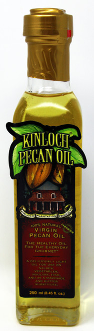 KP002 250ML Bottle Virgin Pecan Oil Kinloch Plantation Products' Pecan Oil is expeller pressed - meaning a chemical free, completely mechanical process. Most oils, with the exception of olive oil, are extracted with the use of chemical solvents that are later evaporated from the oil in the refining process. For many health food advocates, there is always the lingering question of possible chemical residue leftover from the extraction process. Our Pecan Oil is 100% Pecan Oil. There are no additives, preservatives or stabilizers added at any point in the refining process. Kinloch Pecan Oil has been deodorized to provide for a neutral flavor and has been winterized so that it can be stored in the refrigerator without clouding or thickening.   All vegetable oils go rancid over time when exposed to heat, light, and oxygen. For a very long shelf life and to maintain freshness, store your Kinloch Plantation Pecan Oil in the refrigerator to avoid heat and light; insert the pour spout and use it everyday for healthy gourmet cooking.