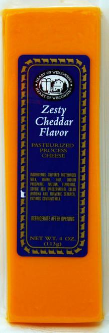 ML43225 4oz Mille Lacs Heart of Wisconsin Zesty Cheddar Bar, shelf stable, Kosher, Gluten Free, Non-GMO