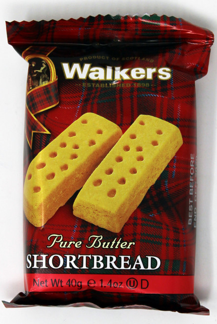 WK001 1.4oz Walkers 2 Shortbread Cookie Our shortbread is baked with no genetically modified ingredients, artificial colors, flavors, preservatives or hydrogenated fats. No bovine growth hormones or antibiotics are given to the free range grass fed dairy cows that produce the rich, creamy milk that becomes the butter used in our shortbread recipe. 100% vegetarian; no animal fats are used in Walkers recipes. Our classic shortbread is made from only four natural ingredients: butter, flour, sugar and salt. Walkers shortbread, cookies and oatcakes are certified Kosher by the Orthodox Union. Where we do use palm oil, it is 100% RSPO certified sustainable. No hydrogenated vegetable oils are used. Whole grain oats in our Oatcake cracker recipes and any oat containing products. Australian Buderim ginger, considered the world's finest ginger, is used in the recipe for Stem Ginger Biscuits and Stem Ginger Shortbread. Only the highest quality milk, dark and white Belgian chocolate is used in our recipes. No hardened vegetable oils are used in our chocolate. Recipient of the Good Egg Award from the Compassion in World Farming organization for using only eggs from free range chickens in our Fruit (Plum) Pudding and Fruitcake recipes. Walkers' classic Scottish shortbread is baked in the beautiful, pristine countryside of the Scottish Highlands in the village of Aberlour-on-Spey.
